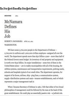 1964 McNamara Defines His Job