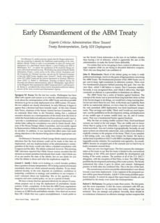 1987 Early Dismantlement of the ABM Treaty