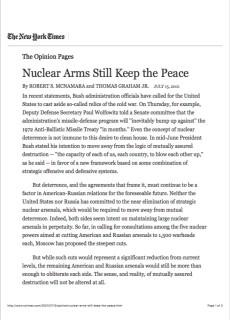 2001 Nuclear Arms Still Keep the Peace
